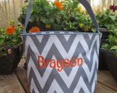Grey Chevron Easter Bucket with personalization.  Gray Easter tote.  Monogrammed Easter Basket.