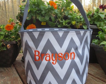 Grey Chevron Easter Bucket with personalization.   Monogrammed Easter Basket.