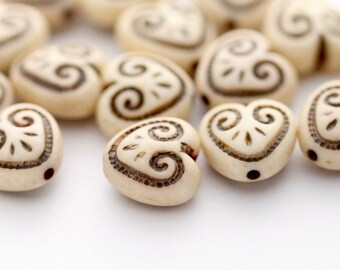 Vintage Lucite Etched Ivory Brown Carved Heart Beads 12mm (10)
