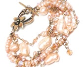 peach or white four-strand freshwater pearl crystal gold-filled statement bracelet