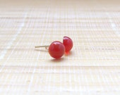 Carnelian Stud Gold Plated Earrings 6mm