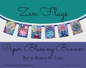 Paper Blessings Banner - Zen Flags with Art by Regina Lord