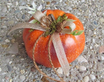 Small Orange Pumpkin Ring Bearer Pillow for your Fall Wedding