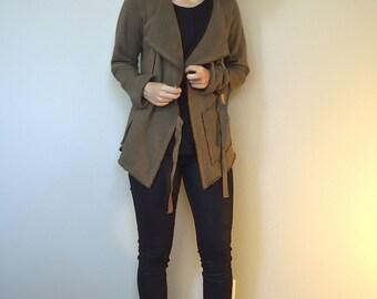 Hemp and organic cotton fleece wrap jacket