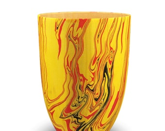 Decorative Wooden Bowl - Red and Yellow Swirls