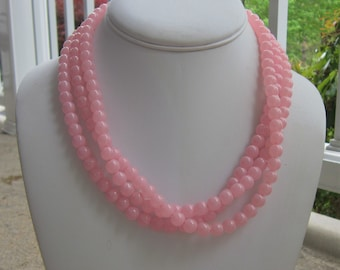 Light Pink Chunky Necklace Triple Strand Statement, Life is Rosy