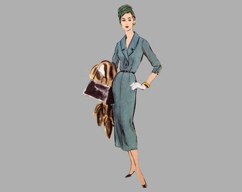 1957 slim dress pattern, Vogue 9289, Bust 36 UNCUT, Shawl collar with notches, Front bodice placket, Stylish tight placket sleeve closure