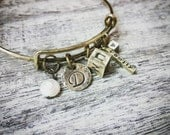 Family Cube Personalized Rustic Adjustable Brass Bangle Bracelet
