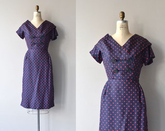 Polydot dress | vintage 1950s dress | polka dot silk 50s dress