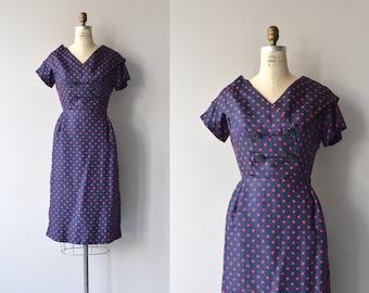 Polydot dress | vintage 1950s dress | polka dot silk 50s dress