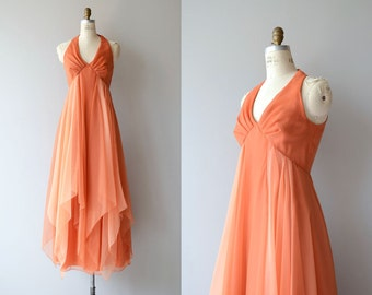 Ilunabarra chiffon dress and cape | vintage 1970s maxi dress | chiffon 70s dress