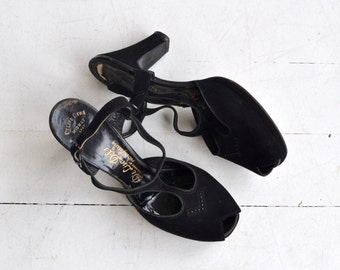 Black Widow platforms | vintage 1940s shoes | black 40s platform heels 6.5