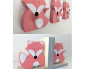 FOX Nursery Set, Fox Kids Decor Set, Wall Hooks and Bookends, Woodland Nursery, Woodland Kids Decor, Fox Nursery, Forest Nursery, Natural