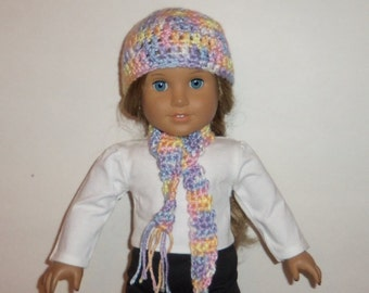 18 inch Doll Hat, Crochet  Scarf, Pastel Multi Colors, Accessories, American Made, Girl Doll Clothes