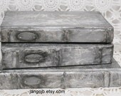 THREE Silver Damask Altered Books...Beautiful Vintage Style PLUS a Secret Book Box