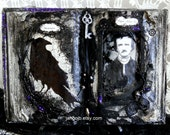 Edgar Allan Poe Altered Book Raven Nevermore...Black Lace, Glitter,Bats, Beads, Skeleton Key,Skull & More!