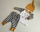 Newborn Baby Boy Coming Home Outfit, Boys Clothing, Pants Shirt with Matching Hat, Arrows