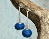 Dark blue Sterling Silver Modern earrings  hand crafted Felt and silver earrings dangle Earrings for Pierced ears