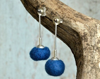 Dark blue Sterling Silver Modern earrings  hand crafted Felt and silver earrings dangle Earrings for Pierced ears