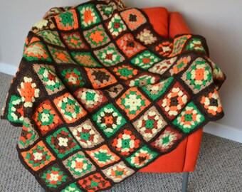 Vintage Afghan Granny Square Hipster Big Bang Earthtones