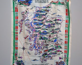 Vintage Scotland Souvenir Linen Map & Highlights