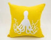 Octopus Pillow Cover, Decorative Pillow, Throw Pillow Cover, Yellow Linen Pillow, White Octopus Embroidery, Nautical Pillow, Home Decor