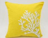 Coral Pillow Cover, Throw Pillow Cover, Yellow Linen White Coral, Embroidered, Nautical Cushion, Cottage Coastal Decor, Couch Pillow