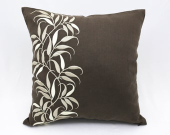 Leaves Pillow Cover, Medium Taupe Linen Beige Leaves Embroidered, Decorative Throw Pillow Cover, Pillow Accent, Couch Pillow, Floral Pillow