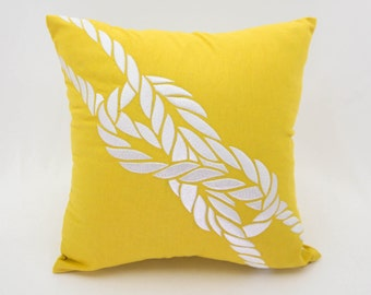 Rope Pillow Cover, Yellow Linen White Rope Embroidery, Nautical Throw Pillow Cover, Coastal Decor, Sailing Cushion, Cottage Pillow Case