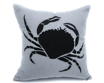Crab Throw Pillow Cover, Nautical Pillow, Gray Linen Black Crab Embroidery, Couch Pillow, Cottage Decor, Coastal Decorative pillow,Cushion