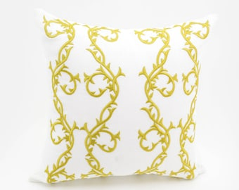 Gold Trellis Pillow Cover, Throw Pillow Cover, White Linen  Pillow, Gold Trellis Embroidery,Gold Pillow Accent, Classic Home Decor, Cushion