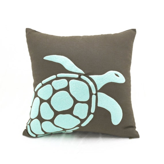 Brown Linen Throw Pillow : Turtle Throw Pillow Cover Taupe Brown Linen Turquoise Turtle