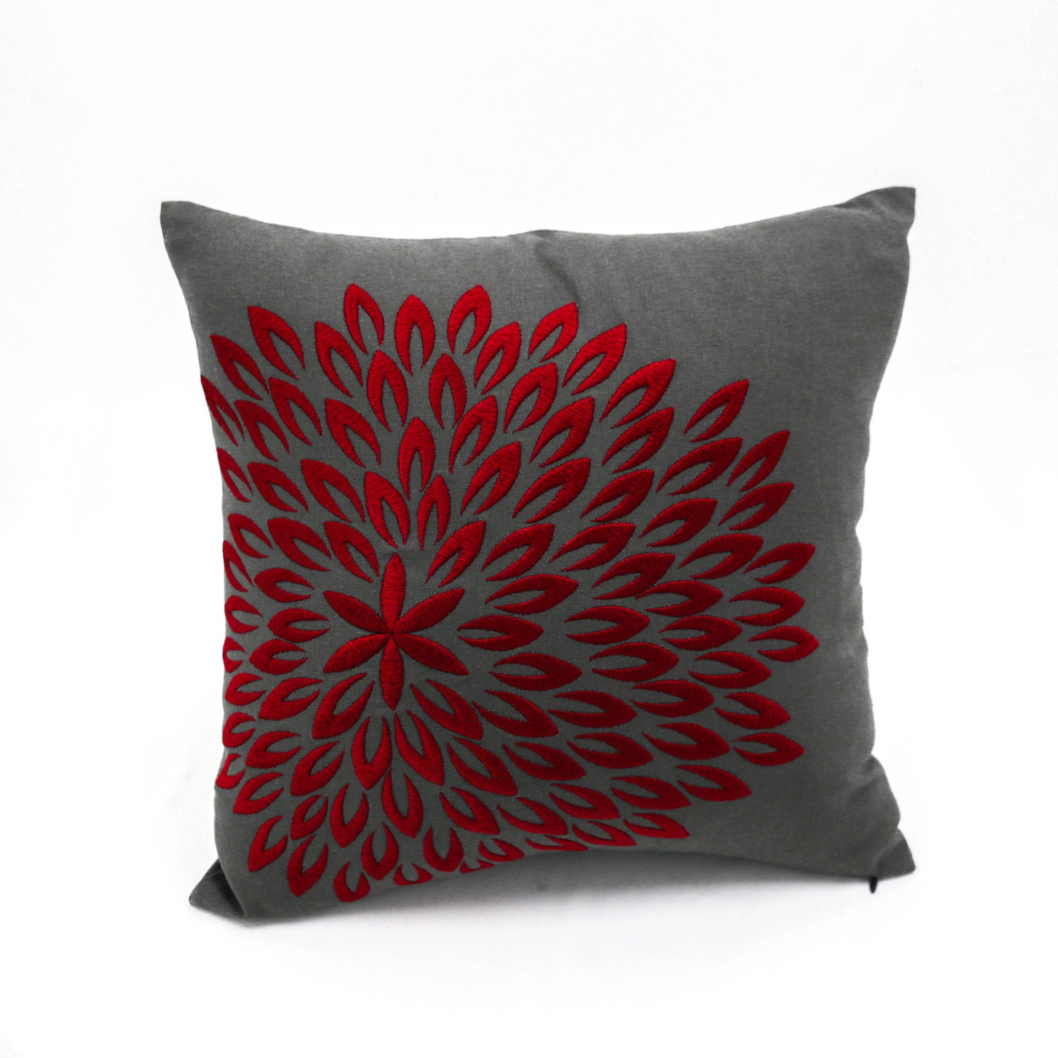 Red Floral Decorative Throw Pillow Cover Dark Grey Linen Red