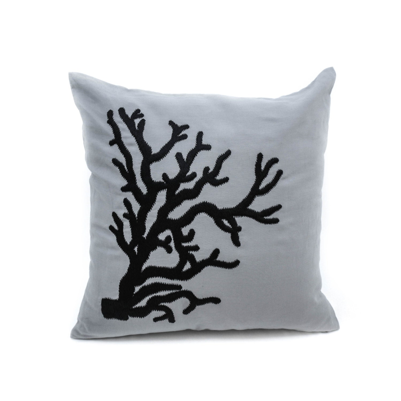 Dark Coral Throw Pillows : Coral Decorative Throw Pillow Cover Gray Linen Black Coral