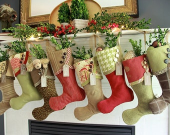 Christmas Stockings - Winter Berry Charm - Greens & Browns with Cheery Red Accents