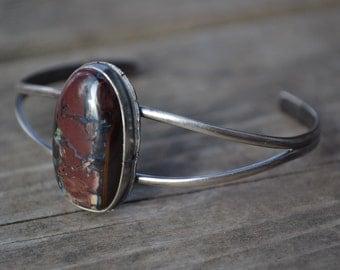 Austrailain Bolder Opal Sterling Silver Cuff Bracelet