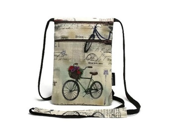 Fabric security travel pouch, Neck wallet, Passport holder, Small sling bag, Travel accessory, Zipper pouch, Vintage Bicycles