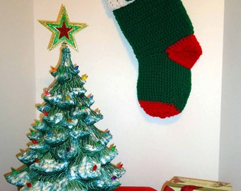 Christmas Stocking - Classic Handmade Old Fashioned Style - Knitted / Crochet - Please See Pictures for Color & Design Details - (#23)