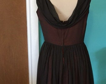 Savoy Truffle - 1950's Chocolate Brown Cowl CHIFFON Party Dress