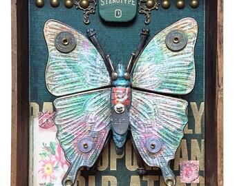 "Assemblage Art Wall Box ""212"" Butterfly"