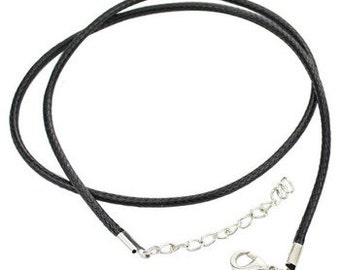 Brown Cord or Black leather Finished Necklace Cord with Silver Plated chain extension Lobster Claw adjustable size