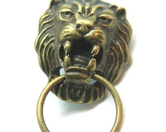 Roaring Lion Component Antique Bronze Earring Post and Charm