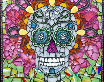 Day of the Dead Sugar Skull mosaic 16x20 - Matted Giclée Fine Art Print by Cherie Bosela