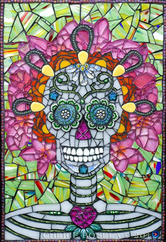 Day Of The Dead Sugar Skull Mosaic 16x20 Matted Gicl 233 E Fine