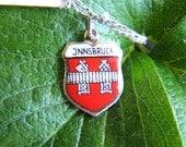Vintage Enamel Charm Reu 800 Silver Jnnsbruck Innsbruck  Austrian state of Tyrol Travel Souvenir Sm. Pendant / Charm on jumpring 1950/60 era