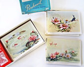 Vintage Boxed Cards 1940s 20 Folded Greeting Blank All Occasion Cards Parisan Parchment Complete Stunning Art