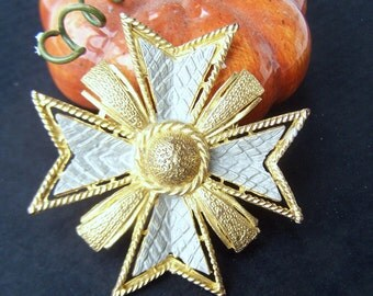 Vintage jewelry , Large Enamel Maltese Cross Brooch in Gray and Gold 1970s Fashion Collectible Jewelry