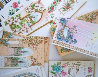 Vintage Boxed Cards Bible Verses Assorted Beautiful Retro Images All Occasion Greeting Cards w Box & Envelopes 1950s
