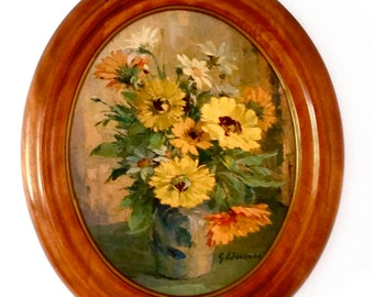 Vintage Floral Print, Yellow Flowers, Oval Wood Frame, Gallery Wall