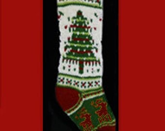 Hand knit Christmas stocking,  Personalized, made of pure wool yarn,  fully lined --  Large tree, reindeer and holly